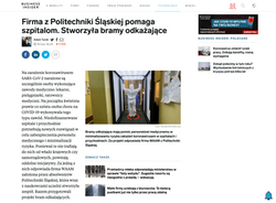 BUSSINES INSIDER - Firma z Politechniki Śląskiej pomaga szpitalom. Stworzyła bramy odkażające