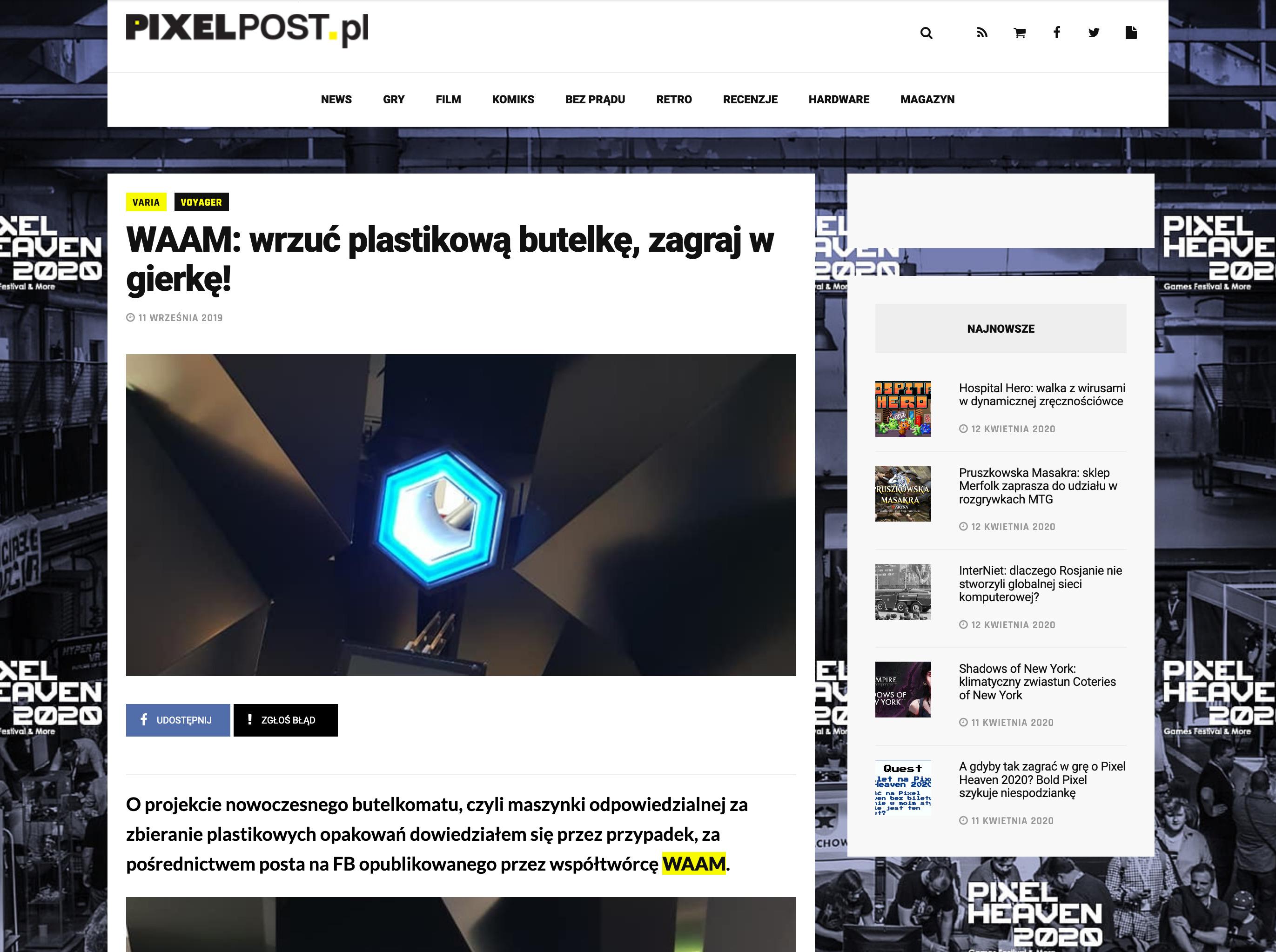 pixelpost.pl WAAM: wrzuć plastikową butelkę, zagraj w gierkę!