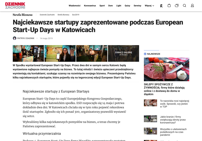 DZIENNIK ZACHODNI 14.05.2019 - Najciekawsze startupy zaprezentowane podczas European Start-Up Days w