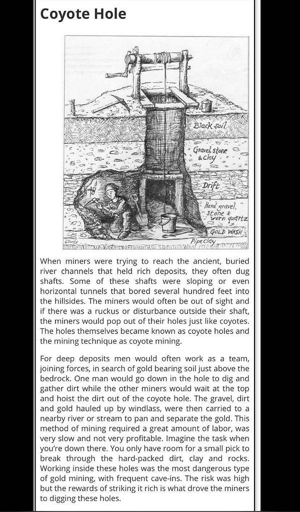Coyote Hole Mining History