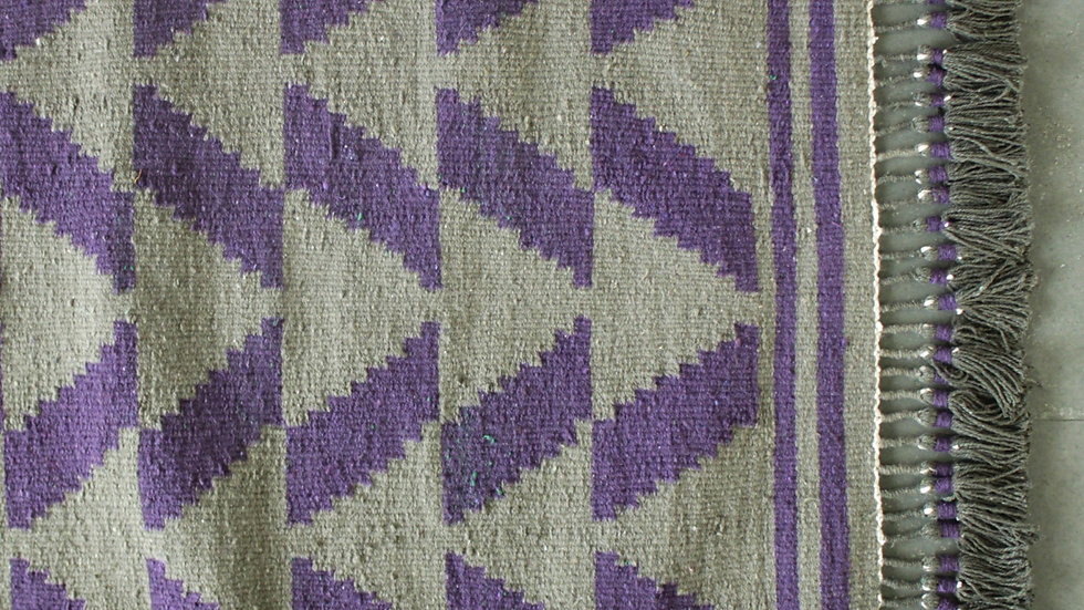 Olive Green and Purple Tricone Patti Durrie