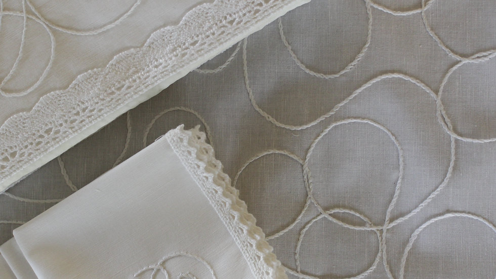 Abstract Stem Stitch Embroidered Tea Linen (in white linen)