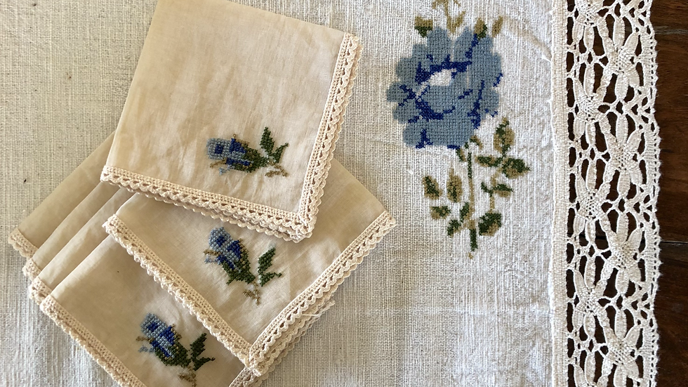 Single Rose - Blue Tea Linen