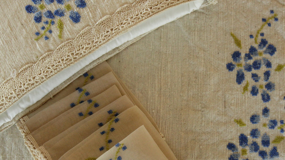 Daisy-Blue Abstract Embroidered Tea Linen (hand-woven)