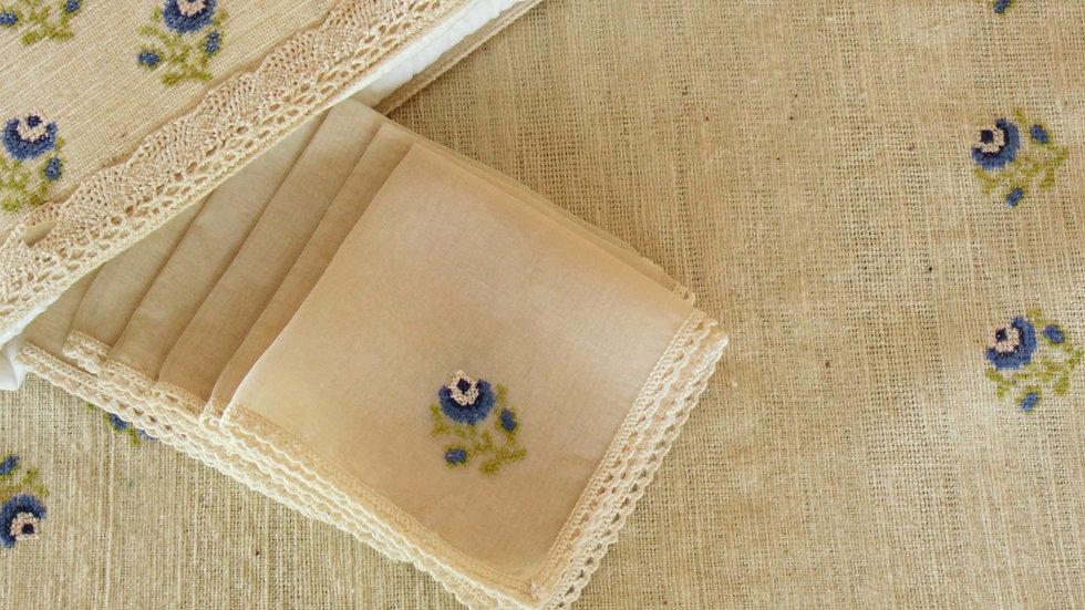 Blue-Rose Embroidered Tea Linen (hand-woven)