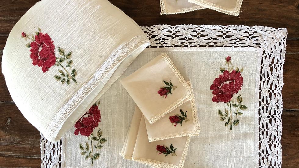 Single Rose - Red Tea Linen