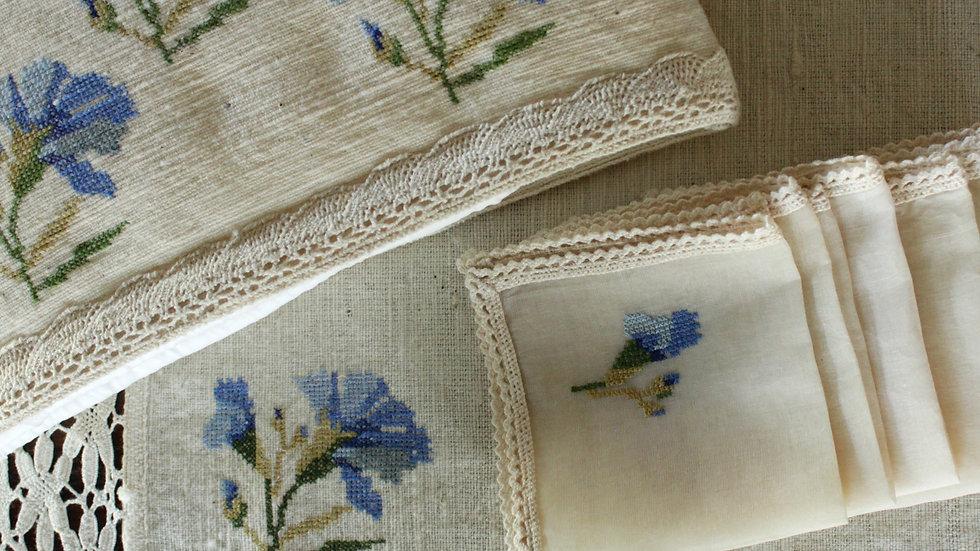 Blue-CornFlower Embroidered Tea Linen (hand-woven)