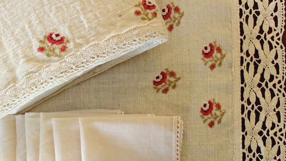 Red-Rose Embroidered Tea Linen (hand-woven)
