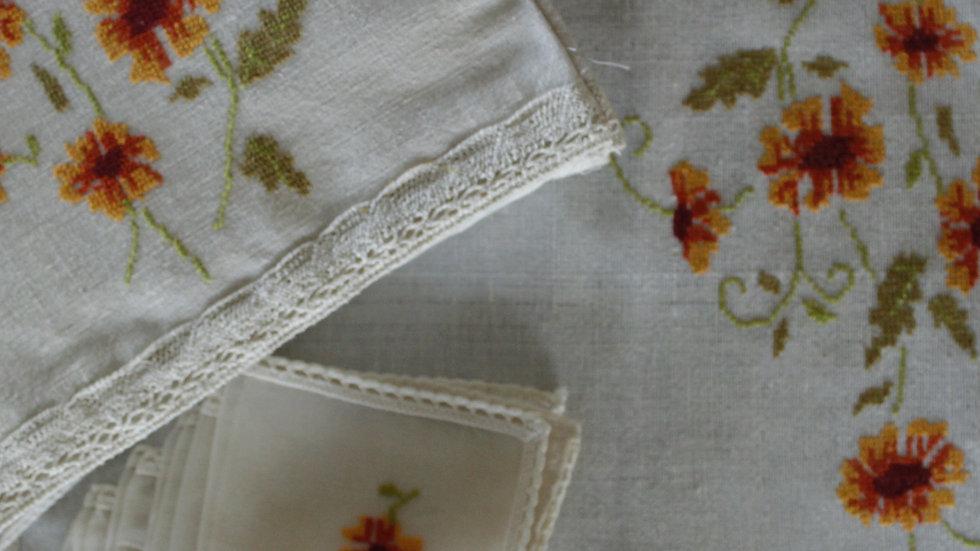 Orange-Long Daisies Embroidered Tea Linen (hand-woven)