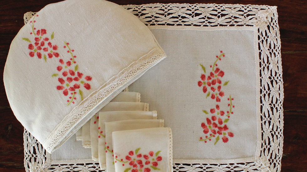 Daisy-Red Abstract Embroidered Tea Linen (hand-woven)