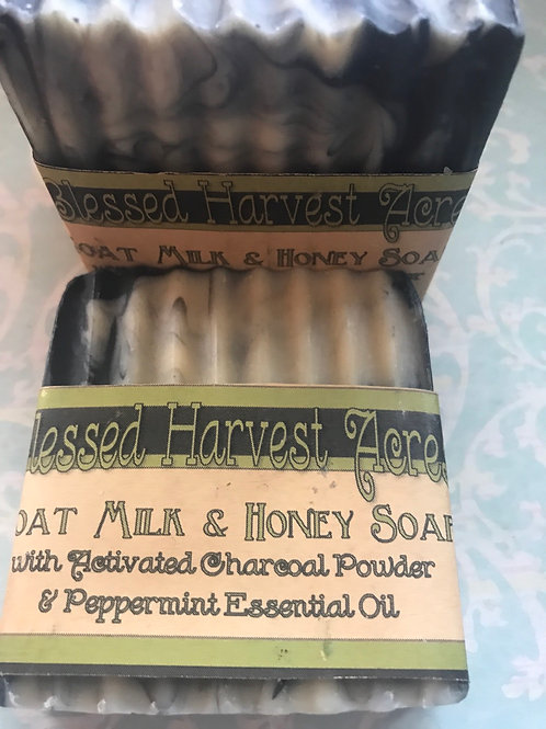 Goat Milk & Honey Soap with Activated Charcoal & Peppermint Essential Oil