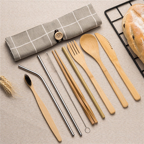 Tableware Set Bamboo Cutlery Set Wood Straw With Travel Cloth Bag Wooden