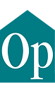 """The Optimism Place logo. The letters """"O"""" and """"P"""" can be seen inside a teal pentagon"""