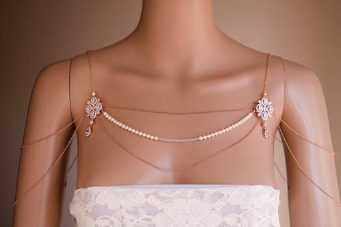 Silver Rose Gold Shoulder Piece Swarovski Pearls crystal Jewelry