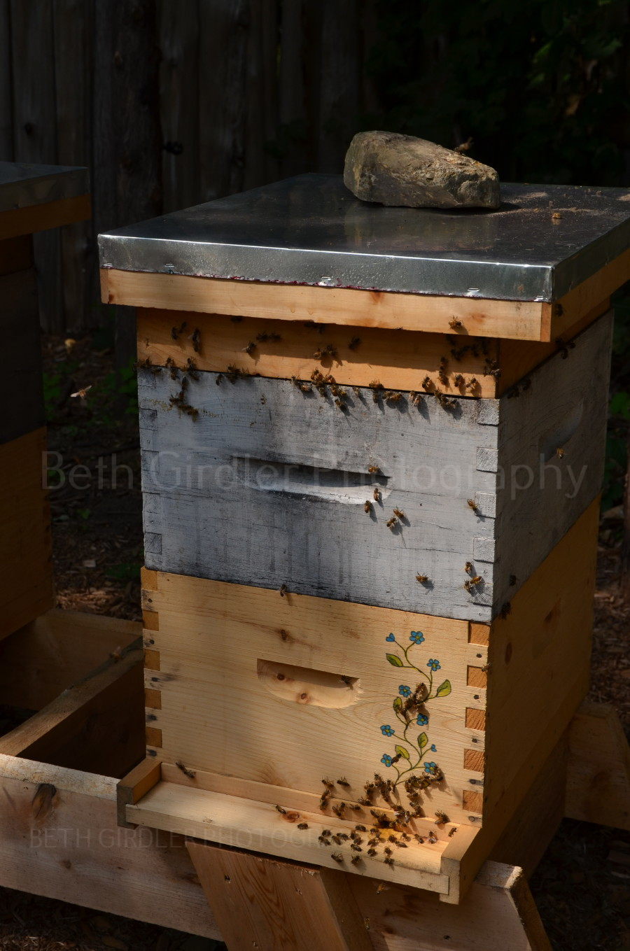artwork on bee hive