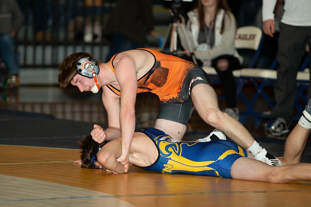 Ethan Paul wrestling against Line Mountain.