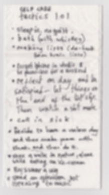 Image Description: Handwritten words in ink on tissue entitled 'SELF CARE tactics lol'