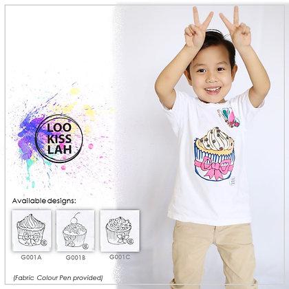 Washable Doodle Tshirt - Cupcake Theme
