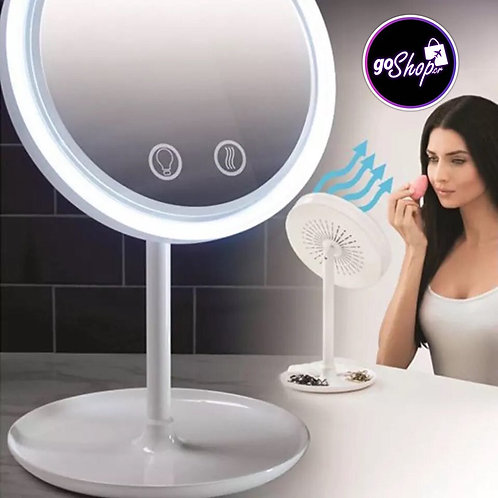 Espejo con luz LED y ventilador