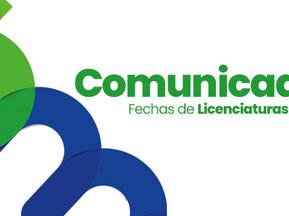 FECHAS DE LICENCIATURAS 2020