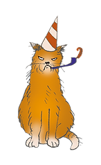 Illustratog of an orange cat witha part hat. It looks really grumpy.