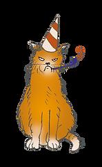 Illustratog of an orange cat witha part hat. It looks really grumpy.
