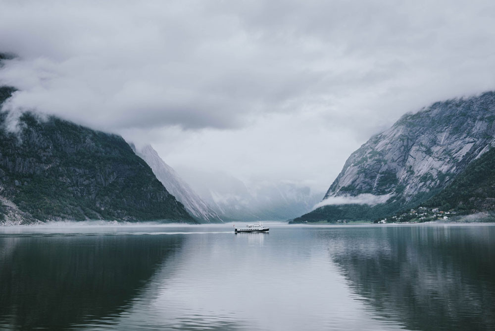 Cruiser in a fjord in Norway