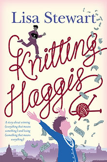 "Book cover of Lisa Sewart's novel ""Knitting Haggis"""