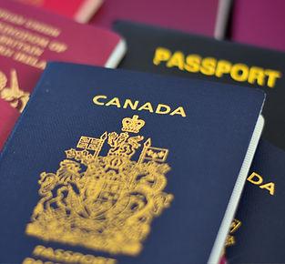Passport canada on passports background.
