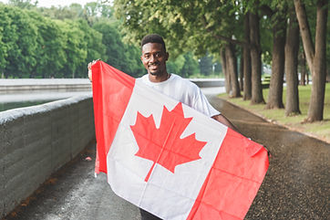 Handsome Afro American man with Canadian