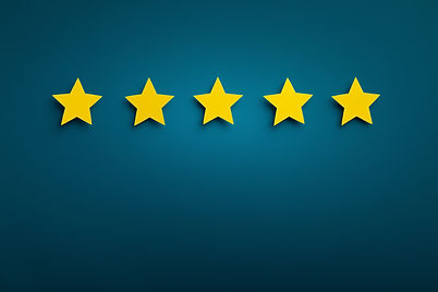 Gold five star shape on background. The best excellent business services rating customer e