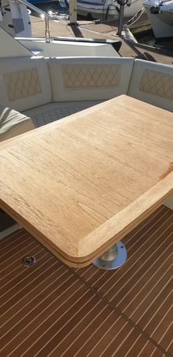 Sanded, cleaned and treated teak