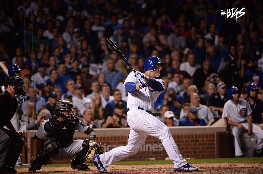 Riz doubles in the 8th to score Kris Bryant (photo by John L Alexander)
