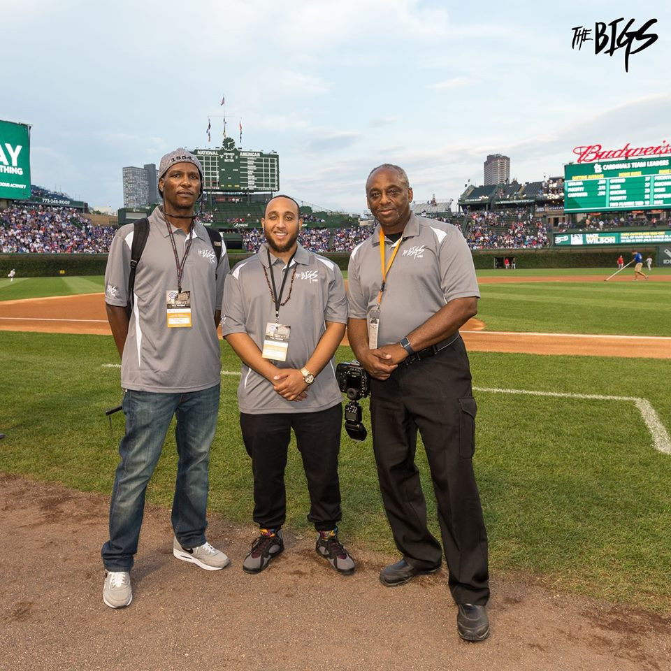 The Bigs Media team from left Eugene McIntosh(left), Terrence Tomlin(center), John Alexander(right) at Wrigley Field