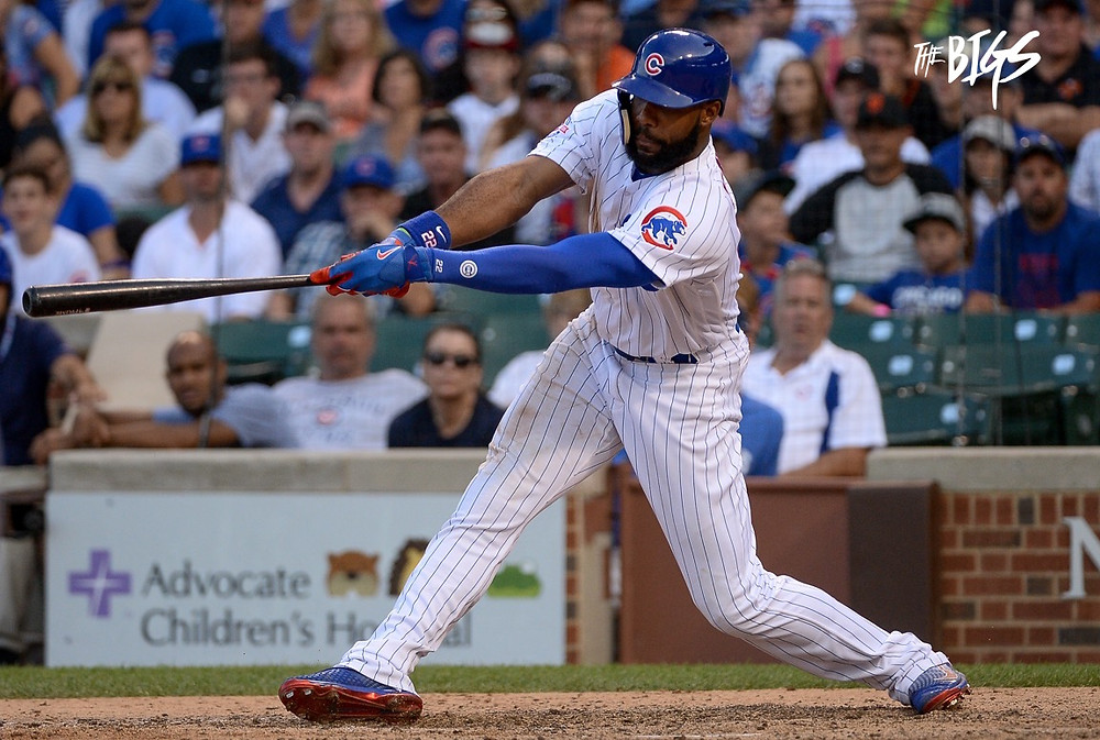 Jason Heyward (#JHey) went 3-6 with all 3 RBI in the Cubs 3-2 win over SF (John Alexander/The Bigs Viuals)