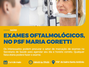 Ação de exames oftalmológicos será realizado entre 2 a 4 de maio em Triunfo