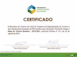 Triunfo recebe o certificado de integrante do Mapa do Turismo Brasileiro