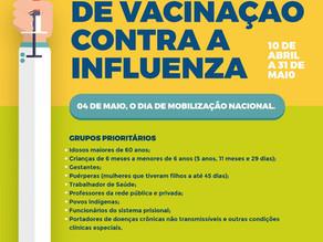 Campanha de vacinação contra a gripe começa nesta próxima quarta-feira (10)