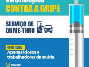Campanha de vacinação será em formato de DRIVE-THRU na próxima segunda-feira (06)