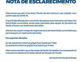 Coronavírus: nota de esclarecimento da Prefeitura de Triunfo