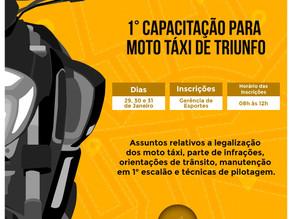 Prefeitura Municipal de Triunfo realizará a 1ª Capacitação para moto táxi de Triunfo