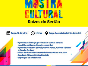 1º Mostra Cultural - Raízes do Sertão, acontece nesta terça (17) em Jericó