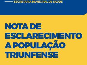 Nota de esclarecimento da Secretaria Municipal de Saúde de Triunfo