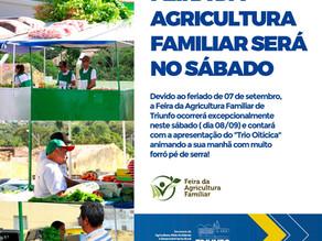 Feira da Agricultura Familiar será neste sábado (08) devido ao feriado de 07 de Setembro