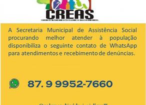 Secretaria Municipal de Assistência Social disponibiliza contato de WhatsApp para melhor atendimento