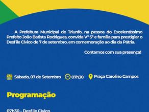 Convite para Desfile cívico de 7 de Setembro em Triunfo