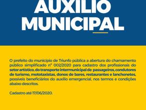 O prefeito de Triunfo publica a abertura do chamamento público simplificado Nº 002/2020
