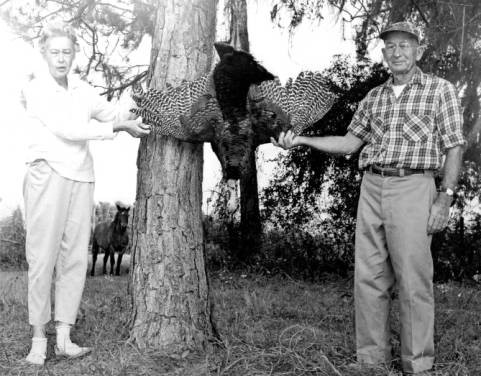 Ben and Lillian Richardson with wild turkey