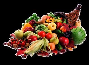 Imagem de uma Cornucópia da Fartura, cheia de frutas e legumes.