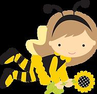 Desenho de uma garota vestida de abelha e segurando um girassol.